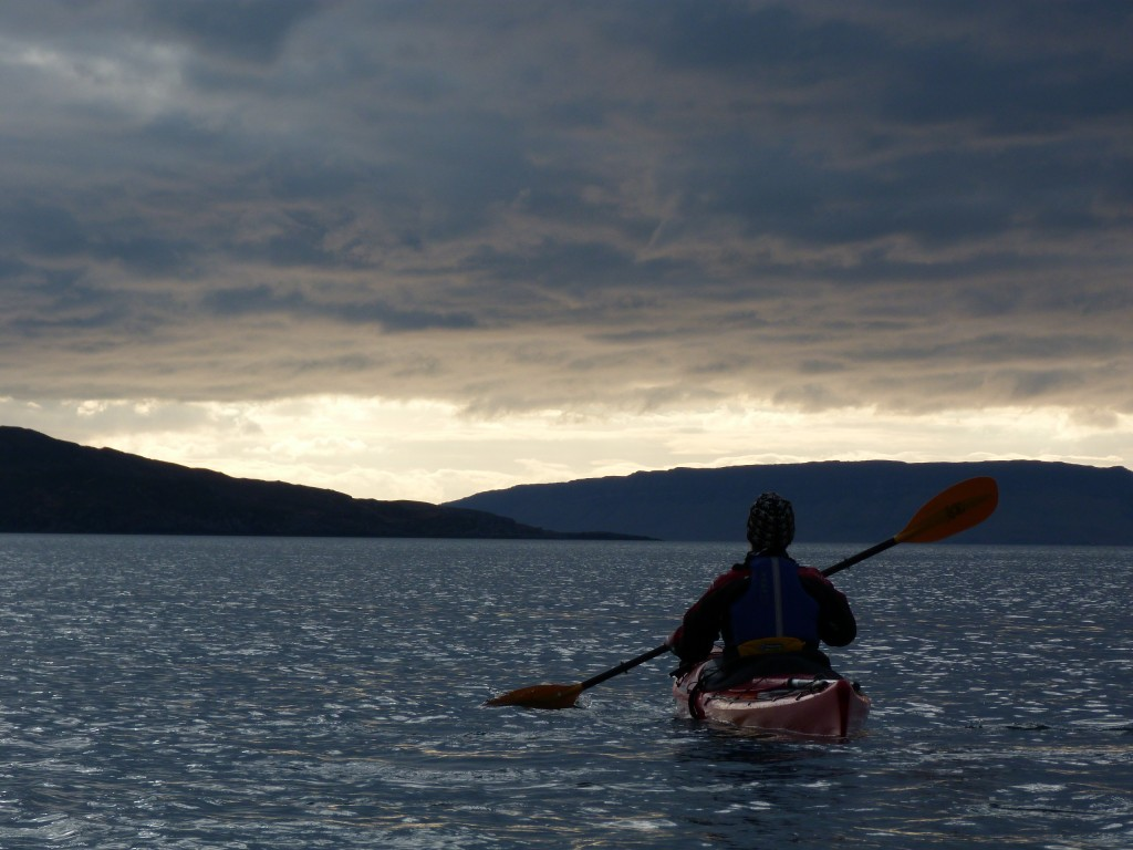 Vanessa paddling around south Skye