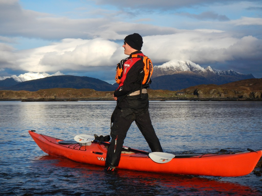 Martin prepares the kayak for a trip on Skye
