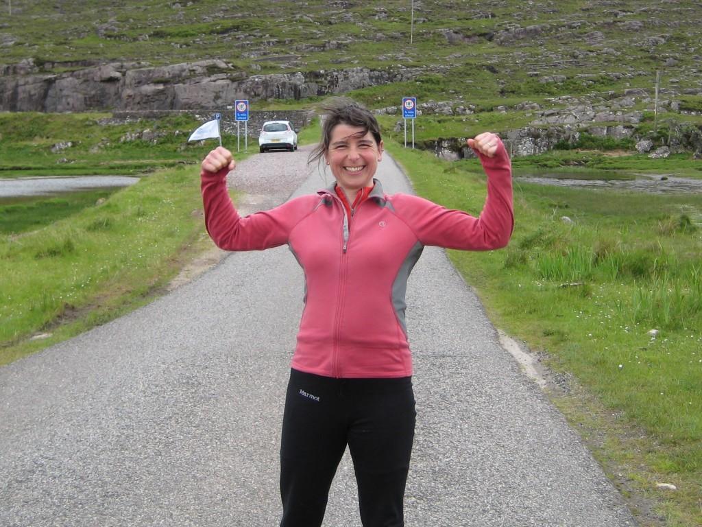 Vanessa triumphant after cycling the Bealach na Ba