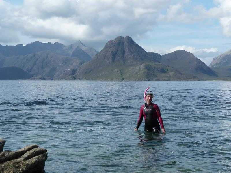 Vanessa snorkeling off Skye
